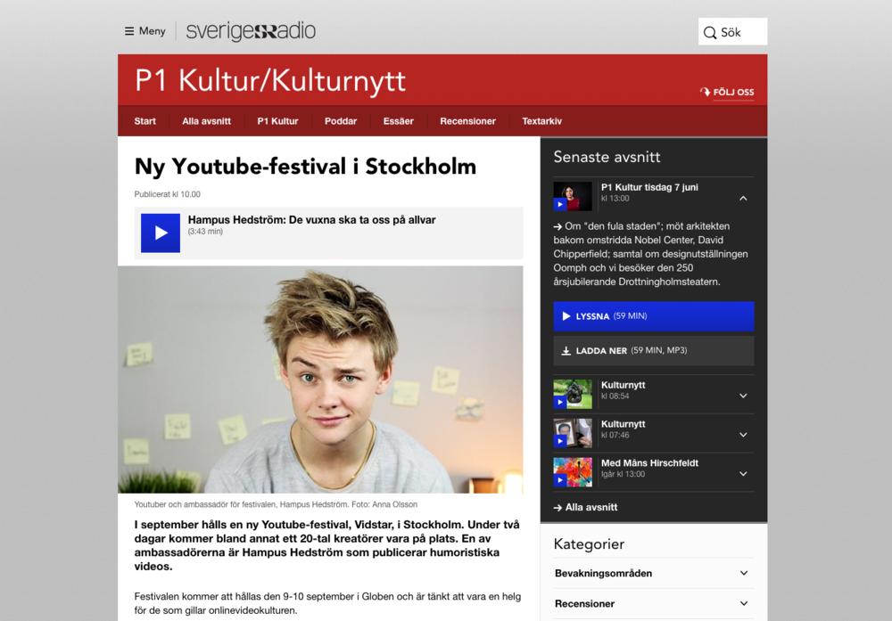 P1 Kulturnytt: Ny Youtube-festival i Stockholm