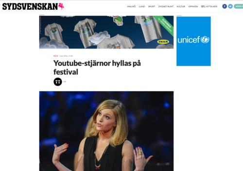 Sydsvenskan: Youtube-stjärnor hyllas på festival