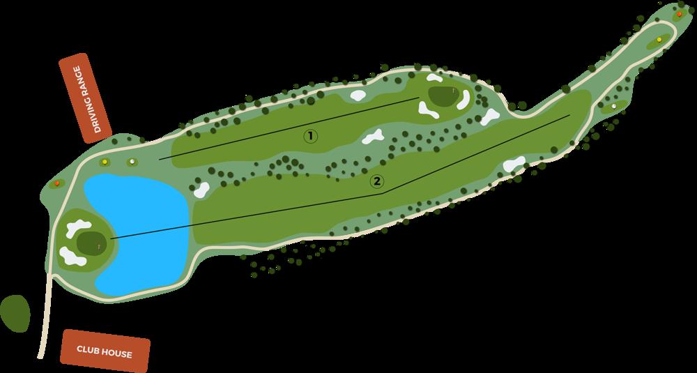 Campo de golf ilustración hoyos 1 y 2a escala real del Cerrado del Aguila Golf & Resort