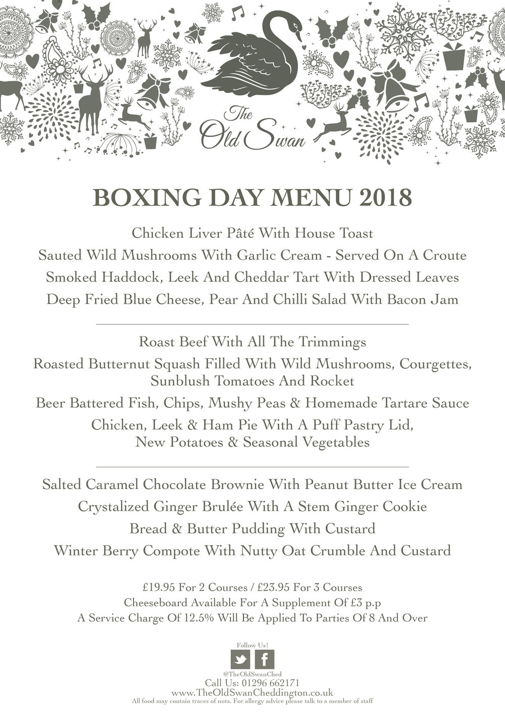 The Old Swan Cheddington Boxing Day Menu