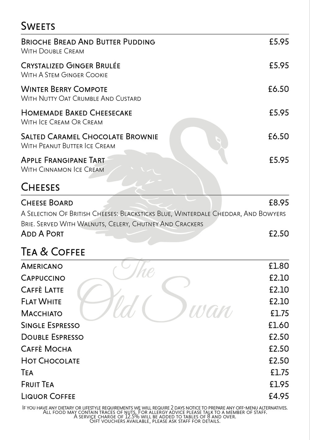 The Old Swan Cheddington Dessert Menu