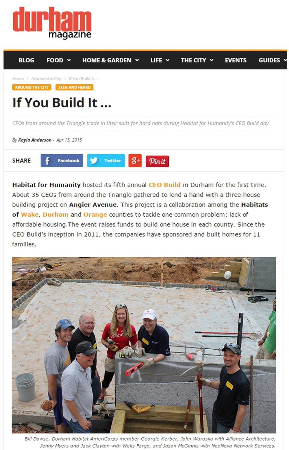 Durham Magazine CEO Build 2015