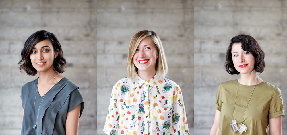 Dropbox's lead designer, Anisha Jain, Pinterest's, Tiffani Jones Brown, and independent designer, Jessica Hische