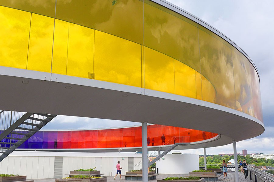 Layers of colors can be viewed from inside and outside of the rainbow walkway