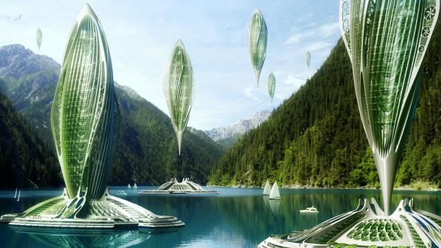 French architects Vincent Callebaut propose 'algae airships', using hydrogen-creating seaweed which allows the structures to float above the ground. (Copyright: Vincent Callebaut)