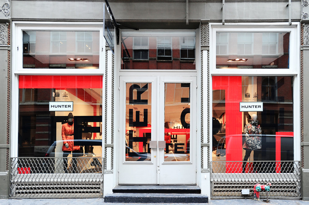 Hunter Boots Pop-Up store,  108 Wooster St, New York, NY.