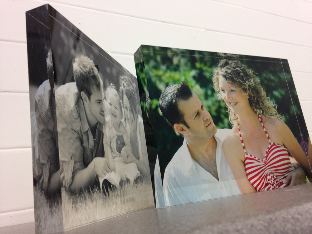"These stunning acrylic desk blocks come in 6x8"" and 8x10"""