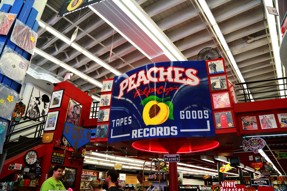 Peaches Records, New Orleans, LA. Loved this store! Records, merchandise, and a little cafe for your coffee cravings!