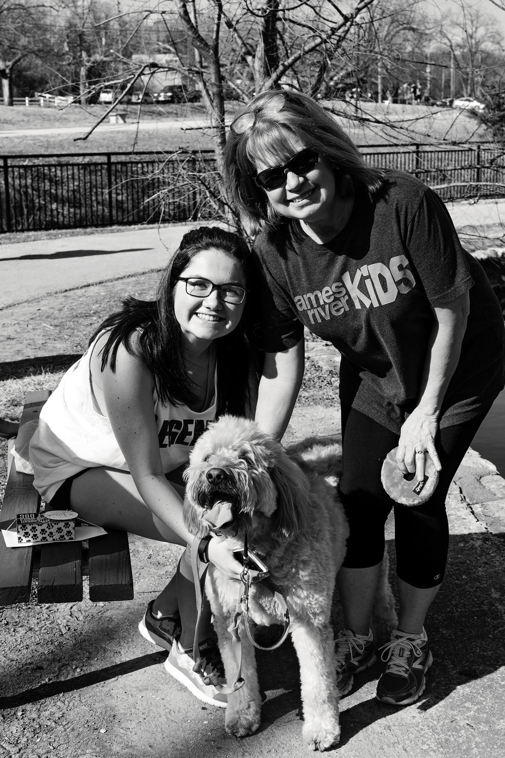 Natalie P. and Cheri P. with Charlee the dog. - Home for the weekend, Natalie spent quality time with her mother and Charlee at Sequiota Park.