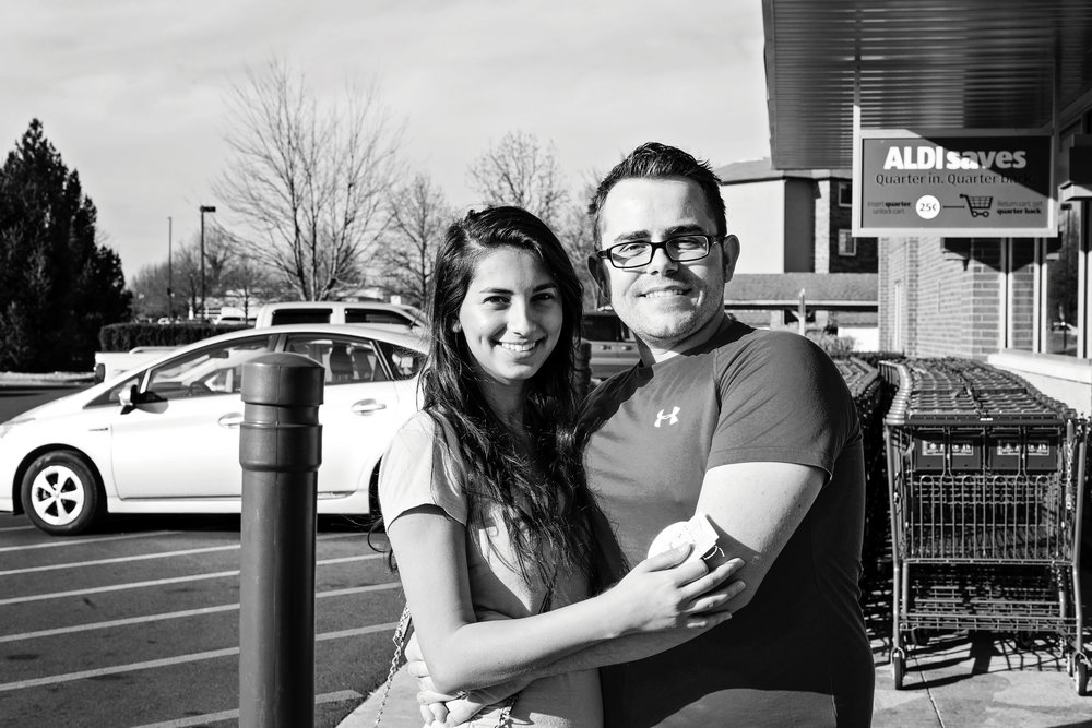 "Lidia and Sam P. - Sam's love for Lidia is evident. When asked what makes him happy, Sam responded, ""being married to my wife"" while holding her hand. These two are involved in their church and just filled their cart with a lot of yummy food!"
