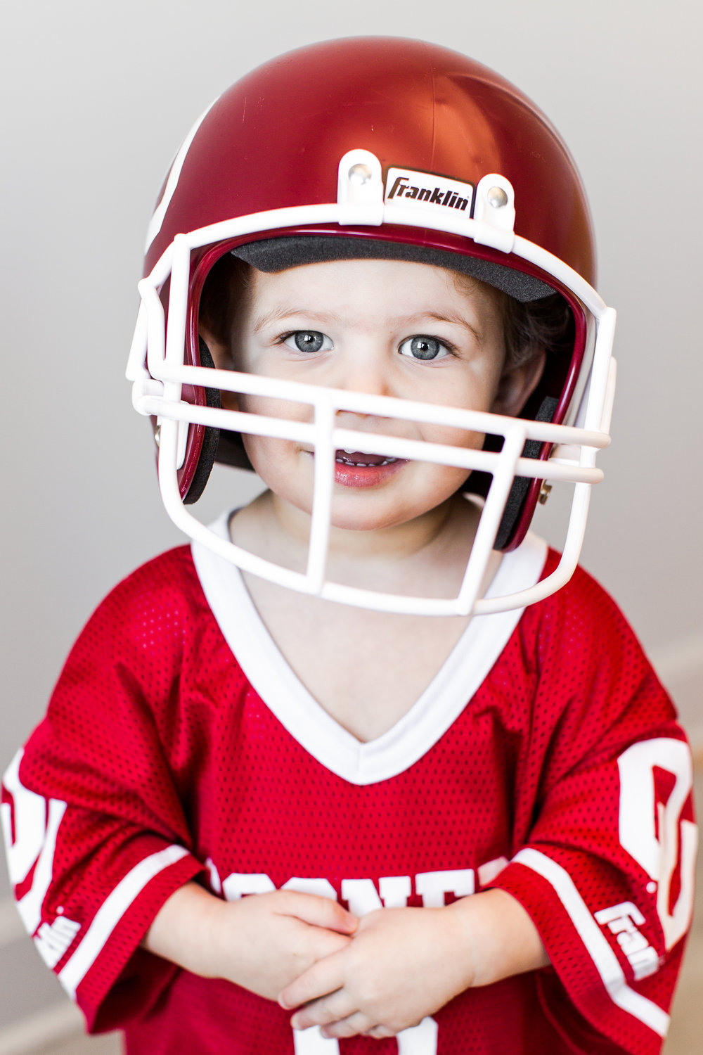 """What's Sam's favorite sport?    """"Sam's favorite sport is football! He's always running around the house yelling """"OU FOOTBALL!"""" """"Touchdown!"""" and """"tackle!"""""""""""