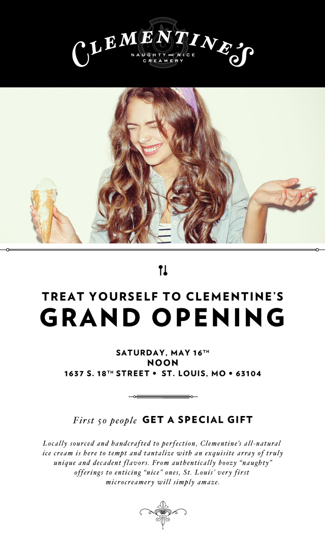 Clementine's Grand Opening Flyer