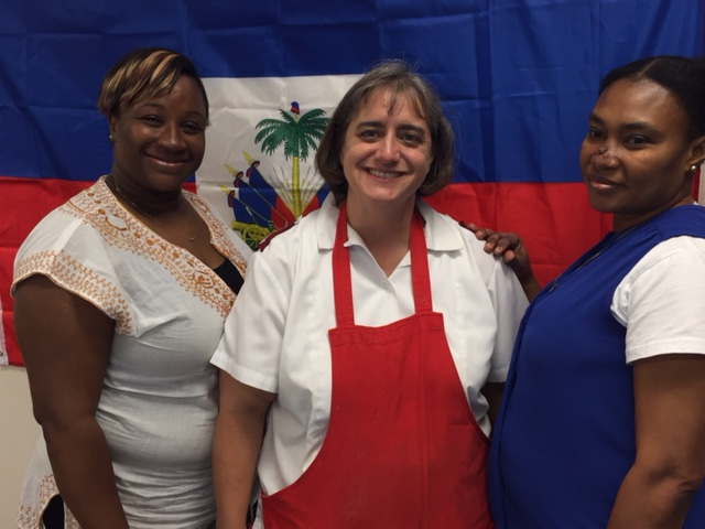 Major becky and 2 haitian soldiers at temple corps who prepared our haitian street food