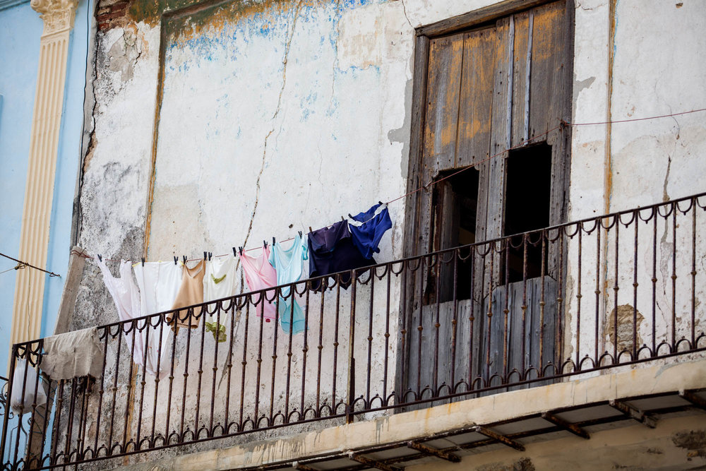 BALCONY SCENE  Airing out the laundry. This was the typical balcony scene on the old buildings.