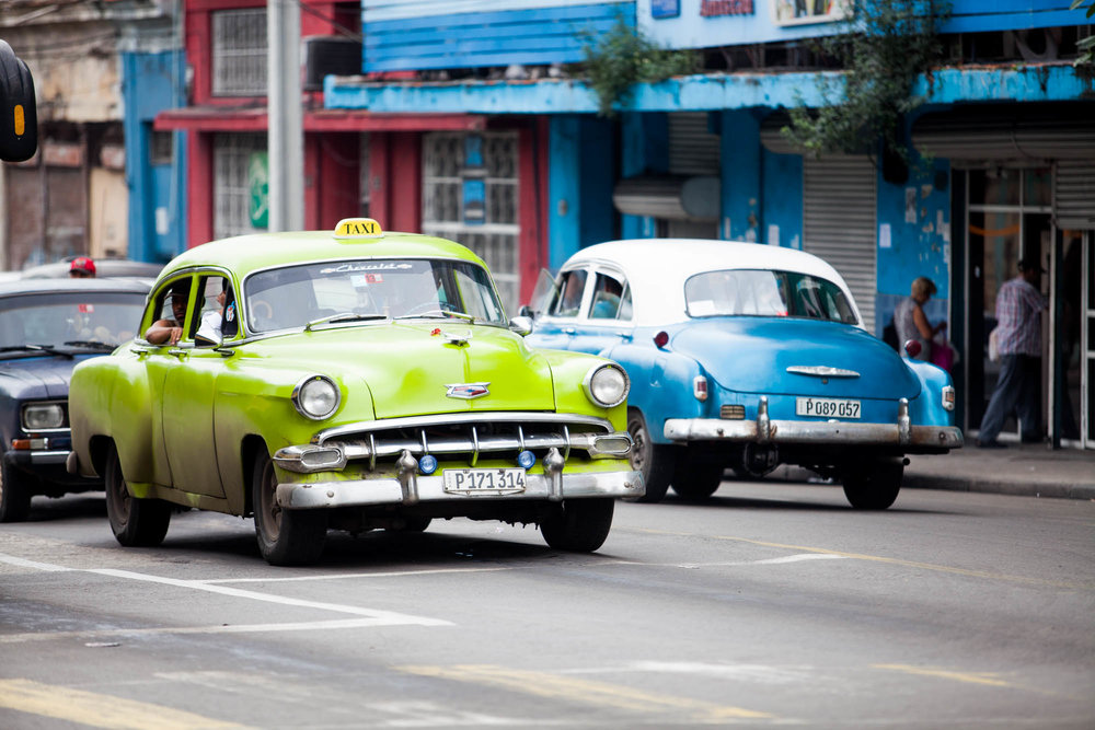 CARS  Classic car scene in Havana.