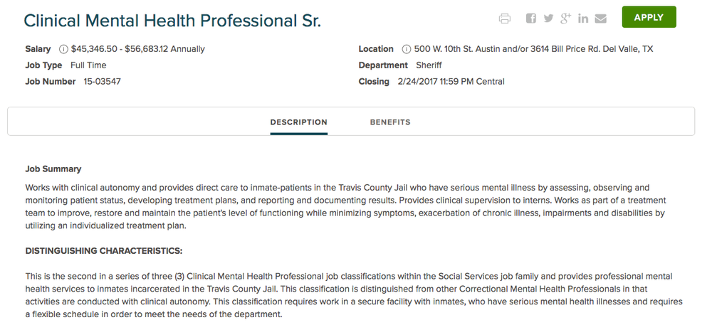 people place on counselors today i went to travis countys website austin tx to look at current job opportunities and below are two of the openings addiction counseling salary