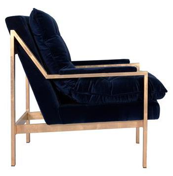Hollywood Regency Blue Velvet Arm Chair