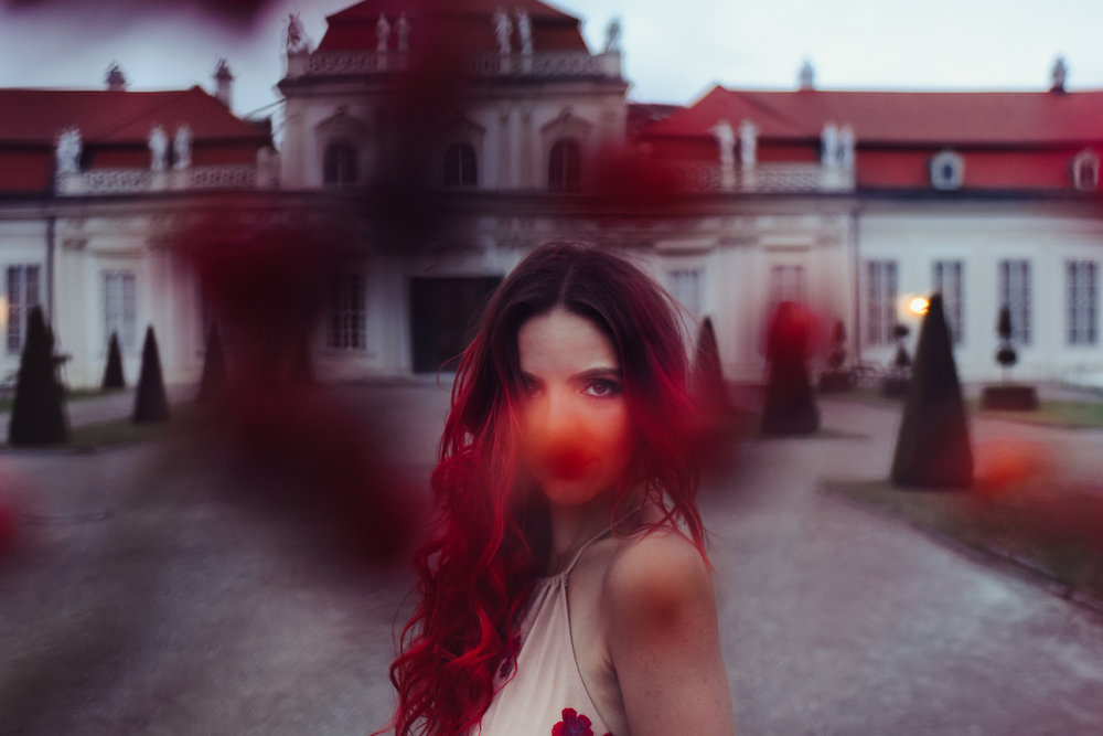 belvedere castle, austria, vienna, boho bunnie, shop tobi, andrea whitt, ashley marie myers, romance, romantic, travel, dark photo shoot, red hair, overtone