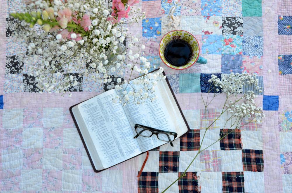 Bible, Glasses, Coffee, Flowers