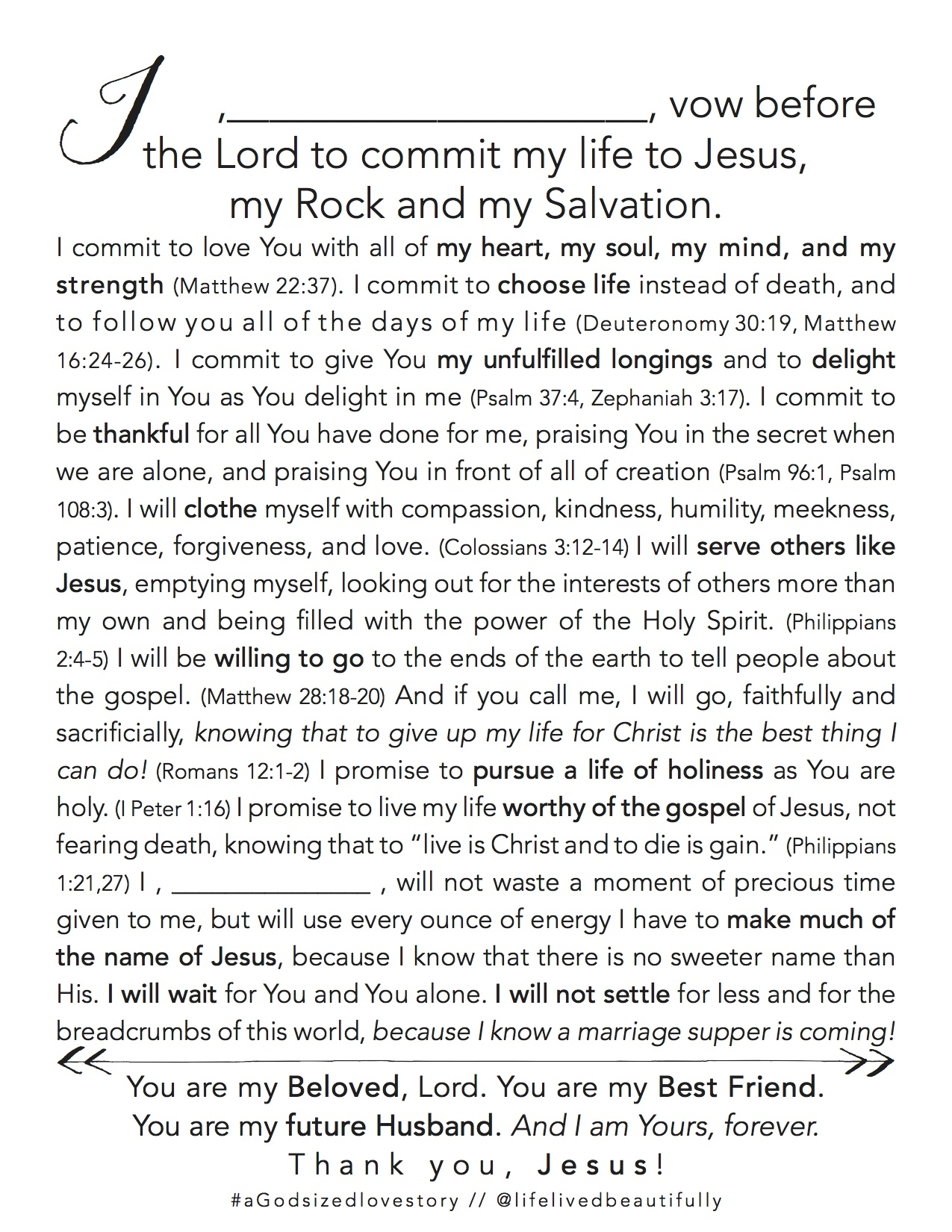 Vows to Jesus