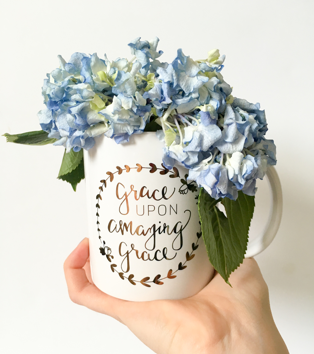 The Grace Upon Amazing Grace mug is a hand-lettered gold foil mug!