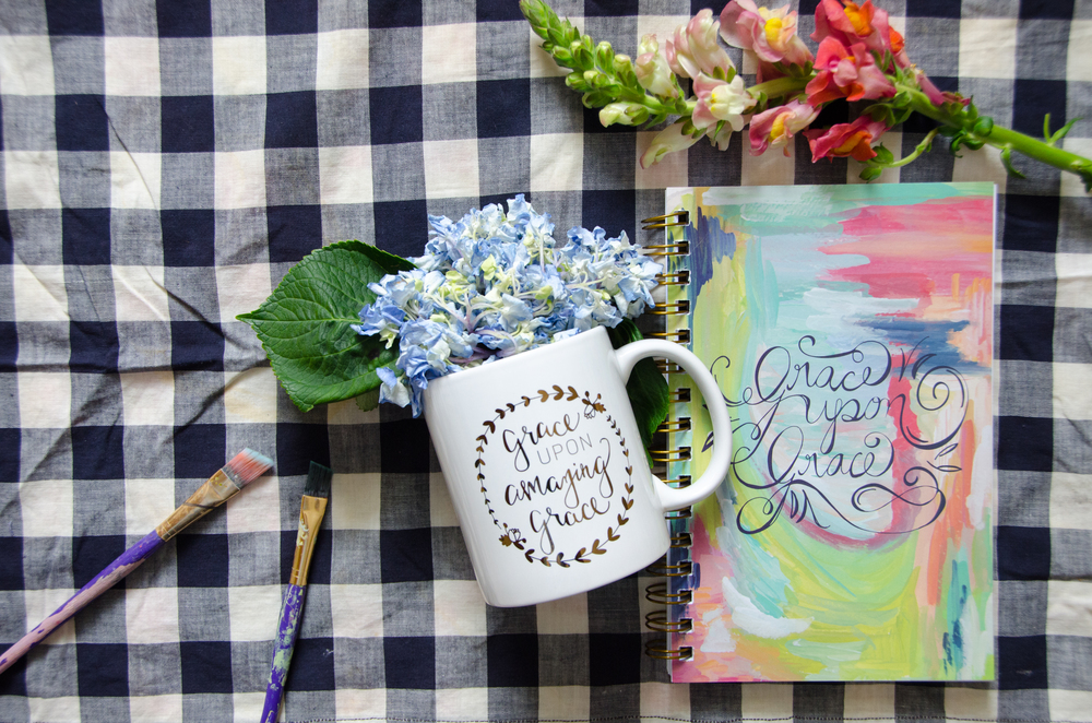Purchase the Grace Upon Amazing grace mug with the  Grace Upon Grace journal here!