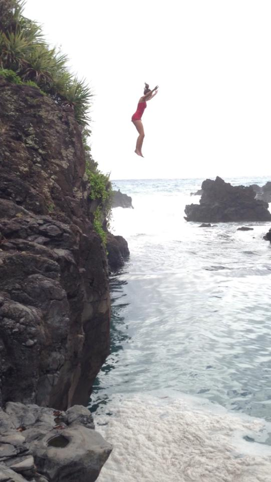 Actual photo of me jumping off the cliff in 2012!