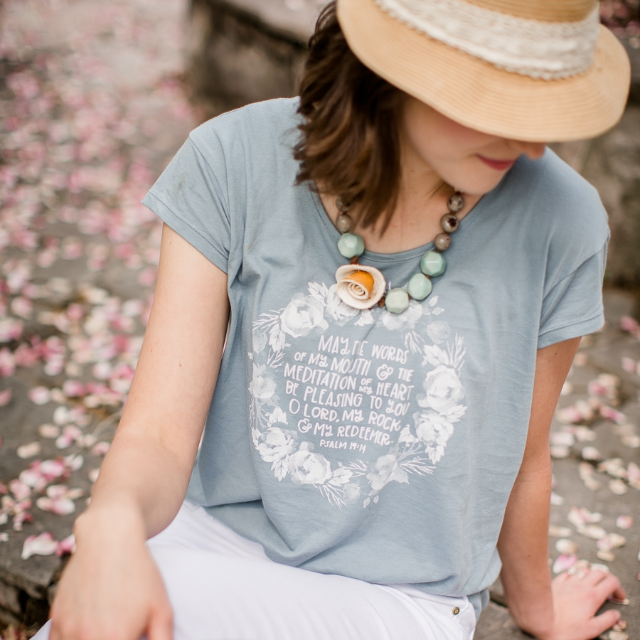Necklace: Fashion and Compassion | Shirt: Life Lived Beautifully Shop | Photo: Amanda May Photos