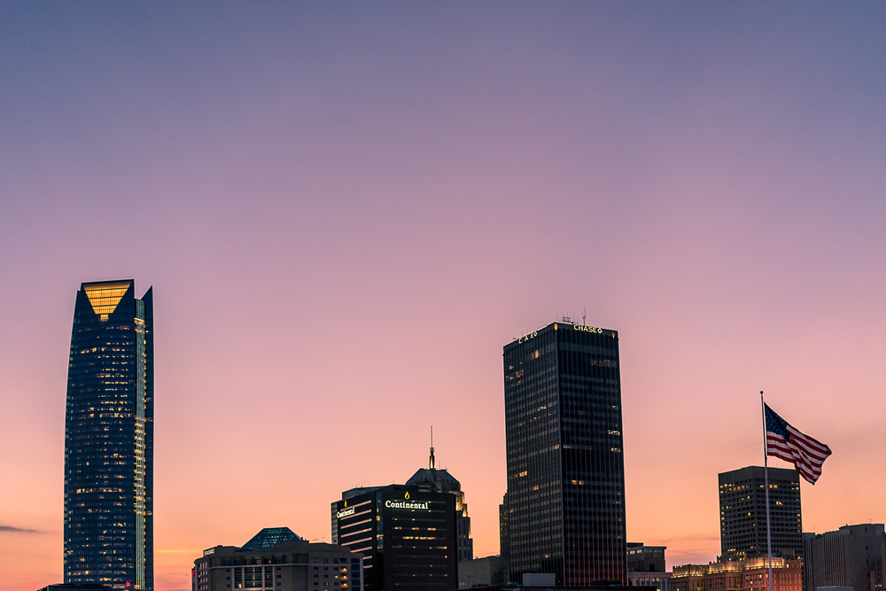Oklahoma city at dusk - Devon Energy building