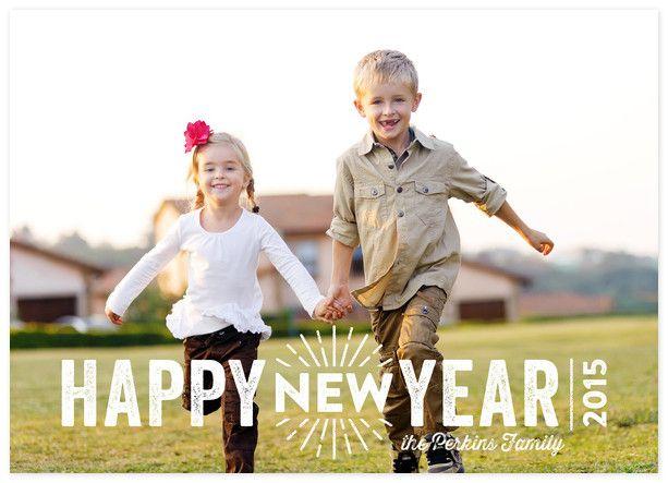 New Year Burst Custom New Years Photo Cards