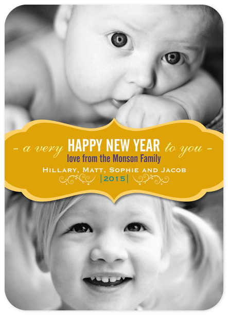 Gold Label Year Custom New Years Photo Cards