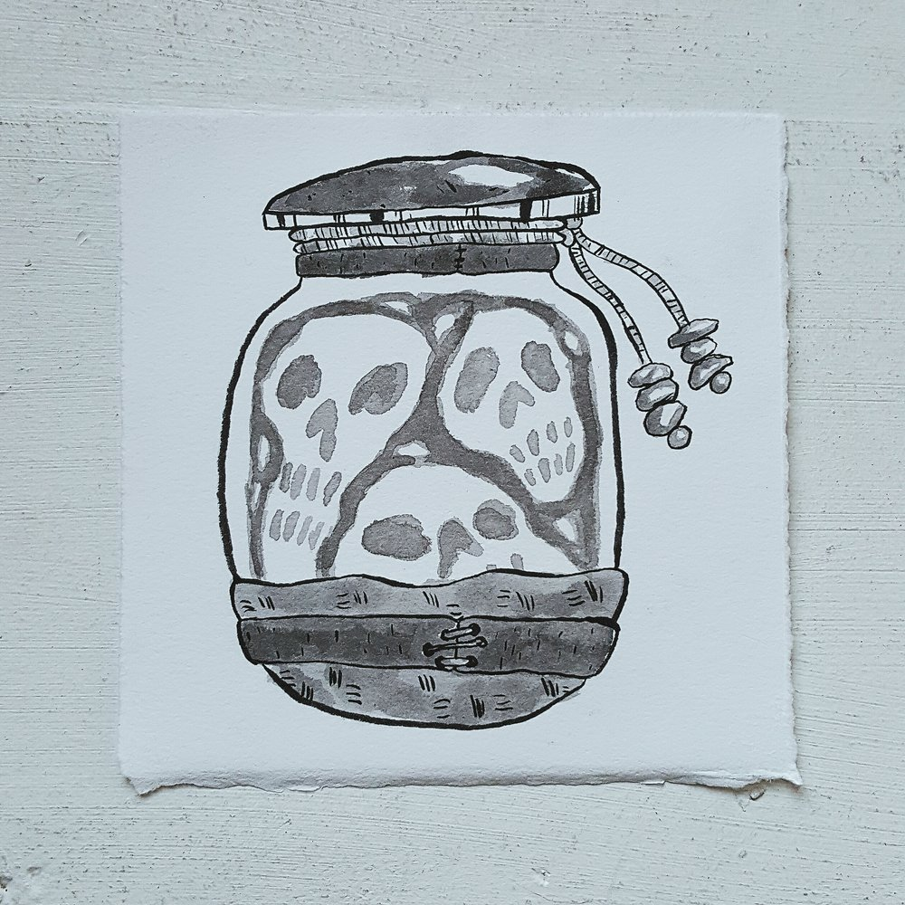 Inktober No. 4, Jar of Souls - a jar of souls has several known, and several more unknown uses. The souls can guide an adventurer on her path, be used to barter with demons and other malevolent creatures, or provide an adventurer with direct contact to spirit entities.