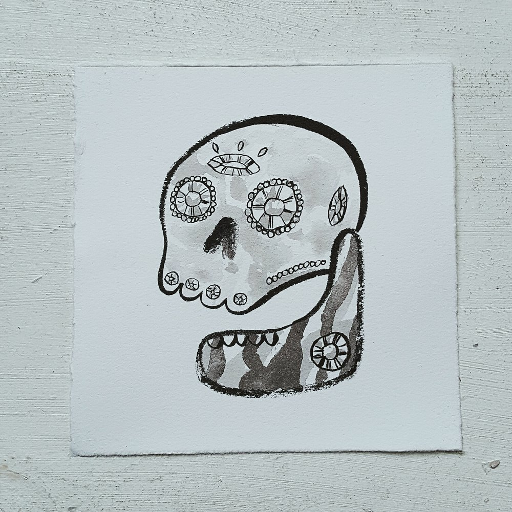 Inktober No. 5, Reliquary Skull - The jewel encrusted remains of unknown royalty.