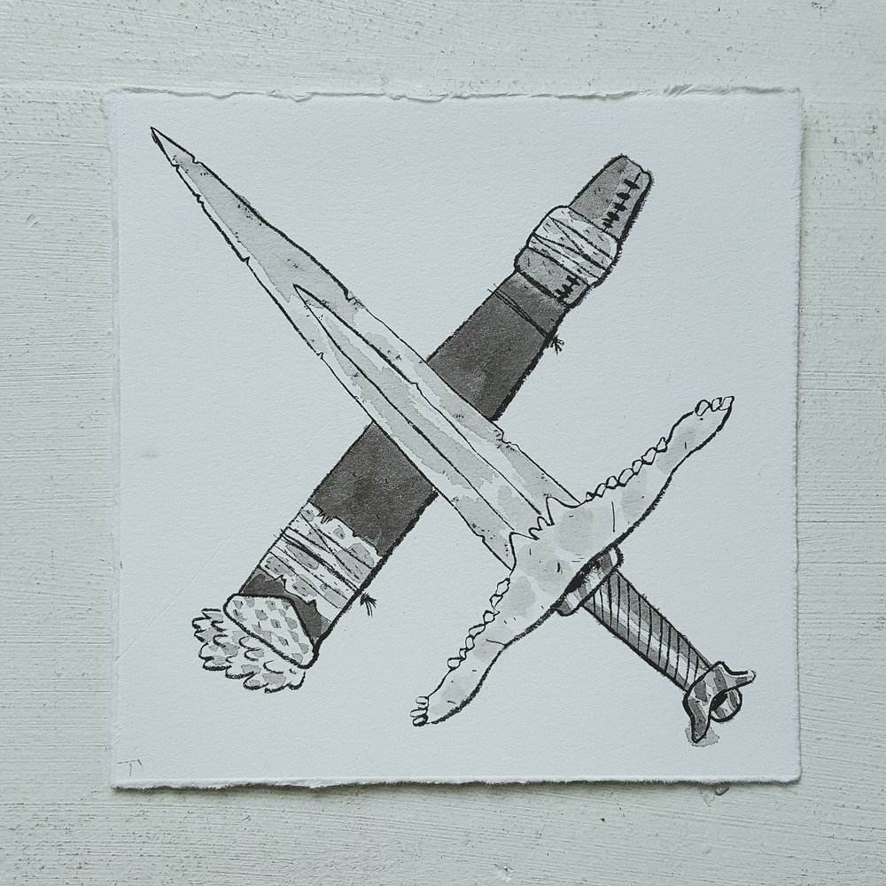 Inktober No. 15, Stallion Long Sword - This blade, named after the horse jaws that create it's hilt, is an iconic weapon passed down through generations of bandits and thieves.