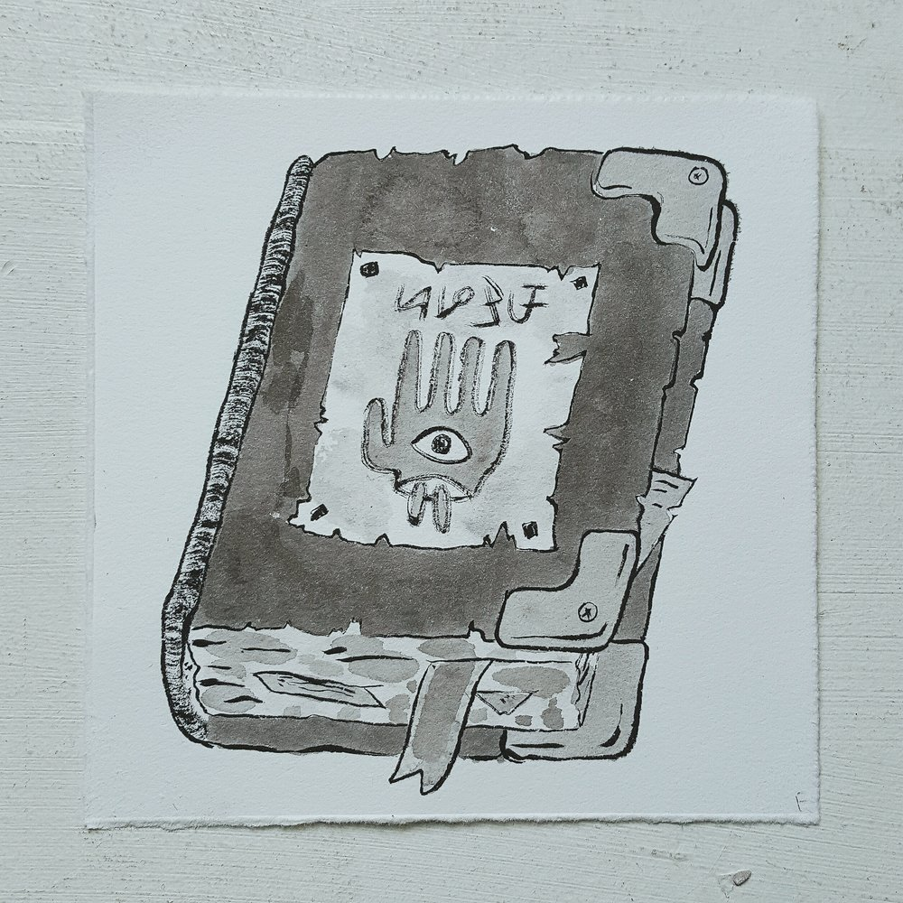 Inktober No. 16, Cryptic Spell Book - A nearly indecipherable tome.