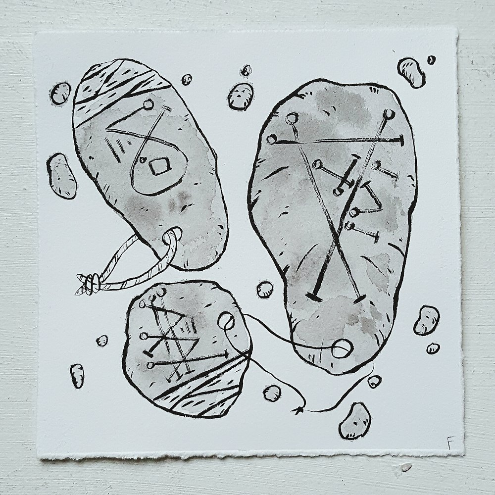 Inktober No. 25, Sigil Stones - These ancient stones bear powerful symbols which can bring power, wealth, conquest, or even love to the user.