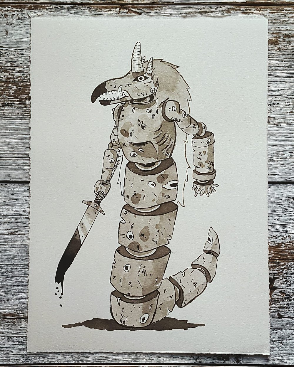 A Knight a Day No. 9, War Doll: Therianthrope God - War dolls are large, enchanted clay figures used to bolster military forces. The dolls are animated with the hearts of men, which are contained in a cavity in the doll's chest.
