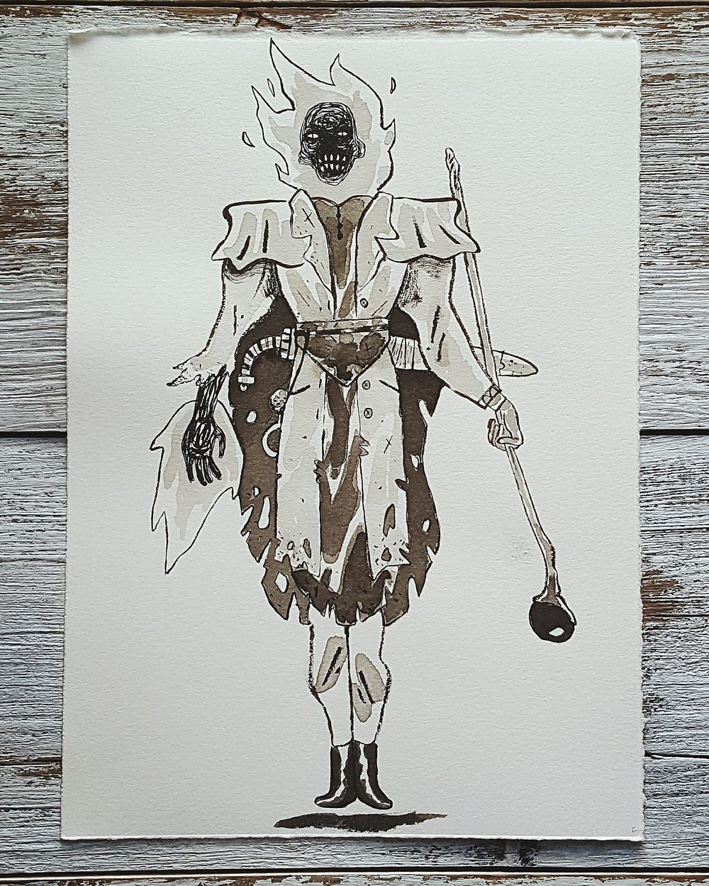 A Knight a Day No. 11, Pyromancer - An adventurer who augmented his body with a magical red stone. After the flames swallowed him, his charred body rose again as a powerful fire mage.