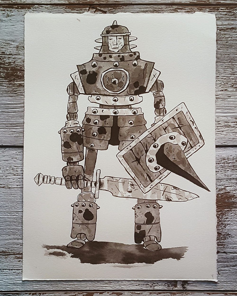 A Knight a Day No. 26, Machine Sentry - These mechanical guards are the last vestige of a lost kingdom of talented smiths. They roam the area where it used to stand, ready to defend the long gone city.