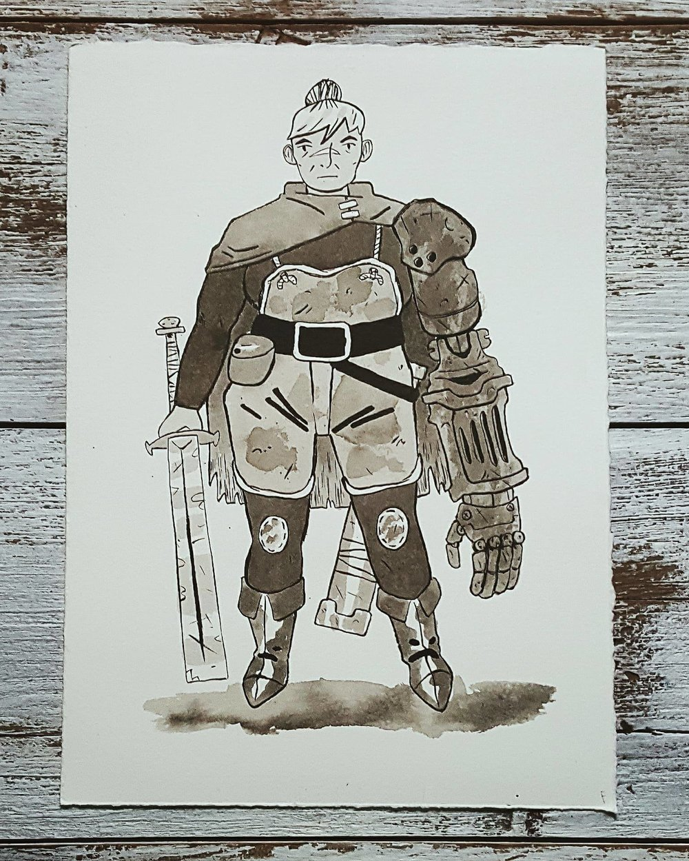 A Knight a Day No. 31, Veteran Adventurer - Mar has spent most of her years fighting on the road. She's seen it all, from ancient spirits and death defying magic to the world ending power of gods and devils alike. Now, as a rugged old adventurer, she dreams of spending her days in a modest home by a stream, fishing for minnows. But the call of the road, and her empty pockets, keep her going.