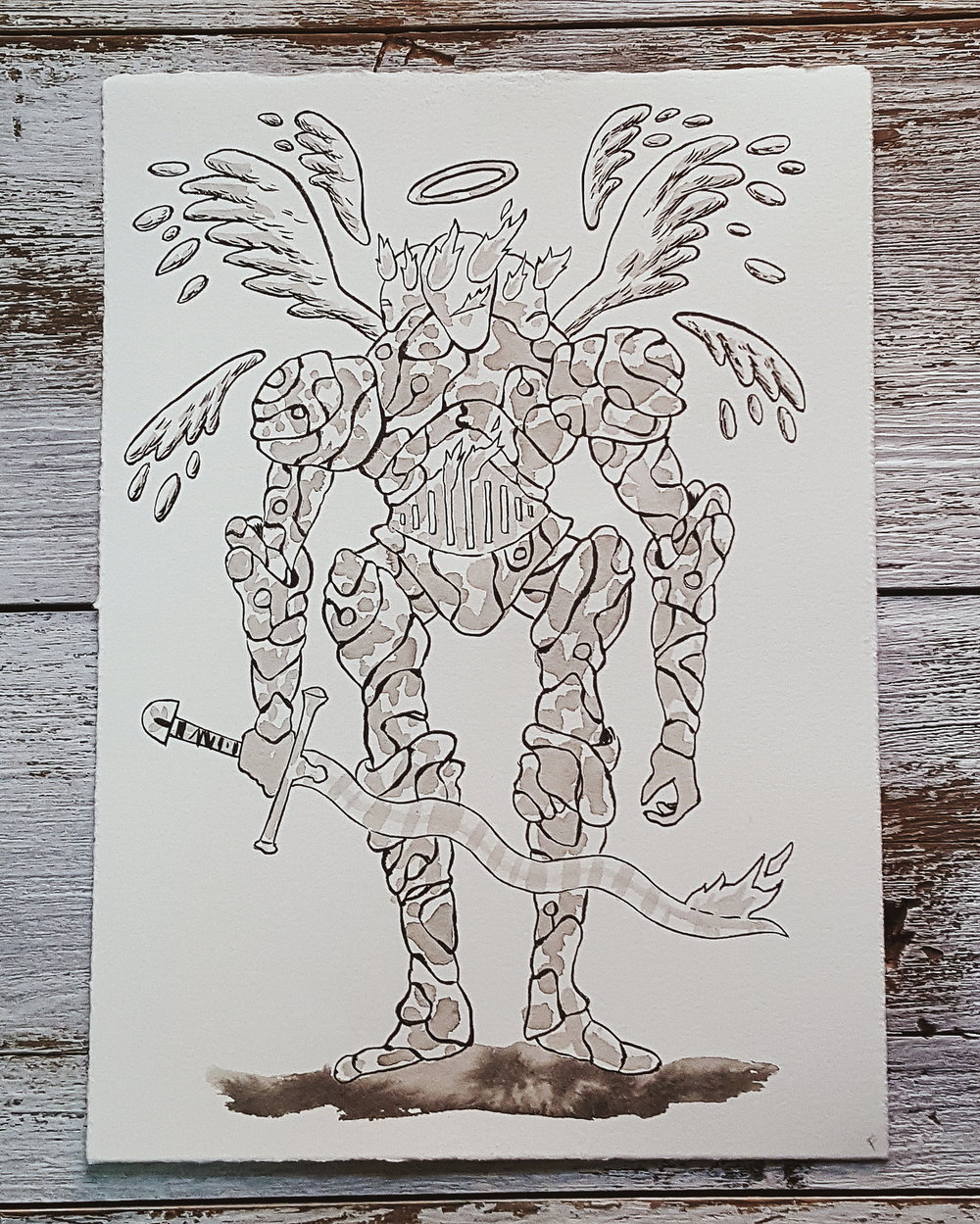 A Knight a Day No. 35, Angellic Vessels - These rune carved suits of armor serve as hosts to angelic entities, which take the form of balls of fire. Most armors house several angels at once, you can tell how many angels are inside by the number of faces the armor displays. The flames of the angels show through their furnace-like bellies, and their eyes and mouths.