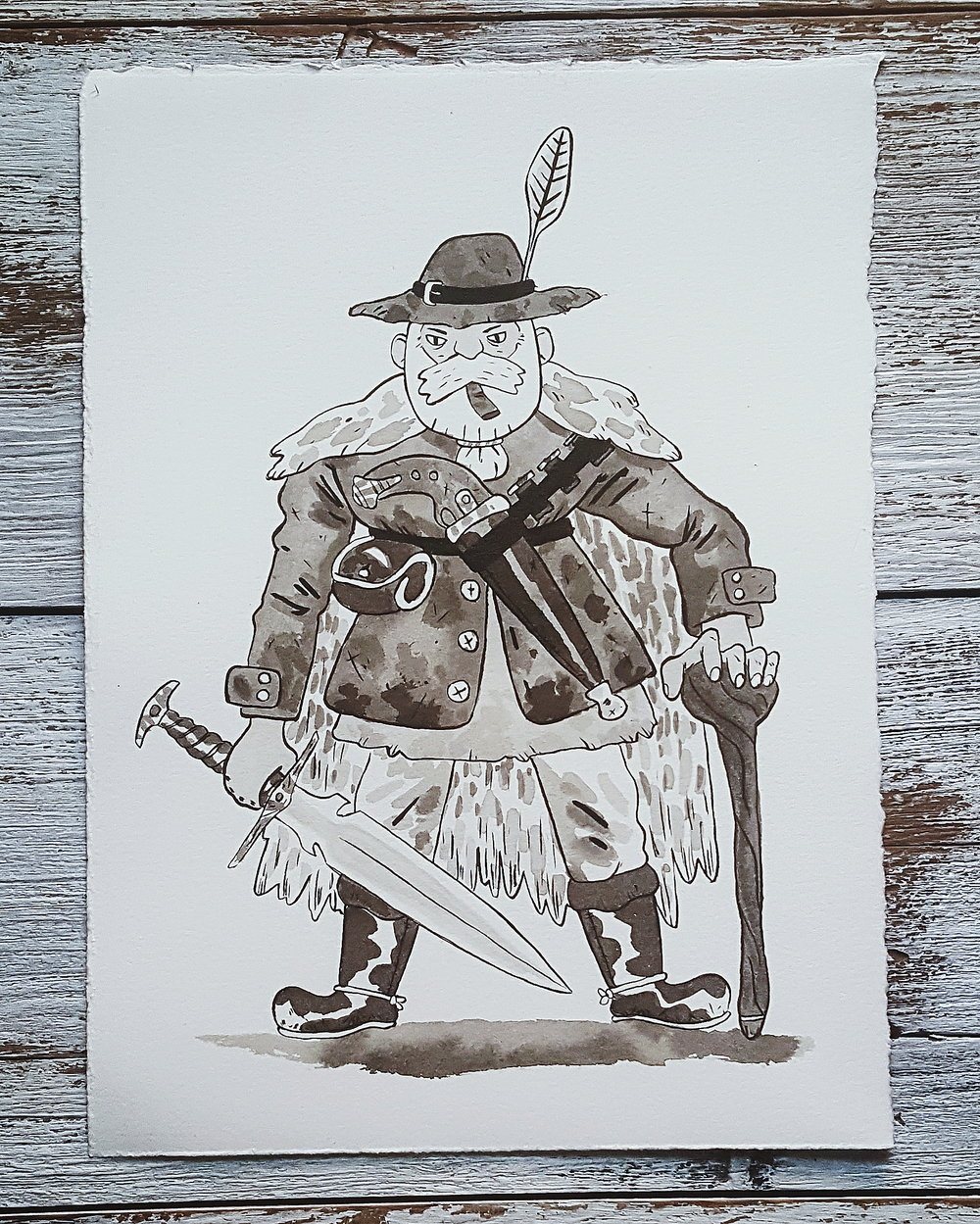 A Knight a Day No. 38, Ranger Otto Oloffson - Otto grew up training as a blacksmith under his mother's tutelage. When the kingdom was fighting against an infestation of demons, he worked feverishly making arms for soldiers to take up in the fight. One day, he took a unicorn hair he was gifted by a soldier, and forged it into the blade. The result was a sword that glowed a searing white light. Just pointing the weapon at the demons pushed them back. Otto took the sword into battle as hope seemed lost, and beat the dark forces back. Now he serves as a ranger, patrolling the territories with his brilliant blade.