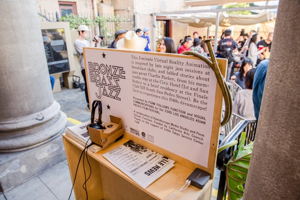 Bronze, Brass, Jazz mobile VR viewing kiosk © Rudy Espinosa