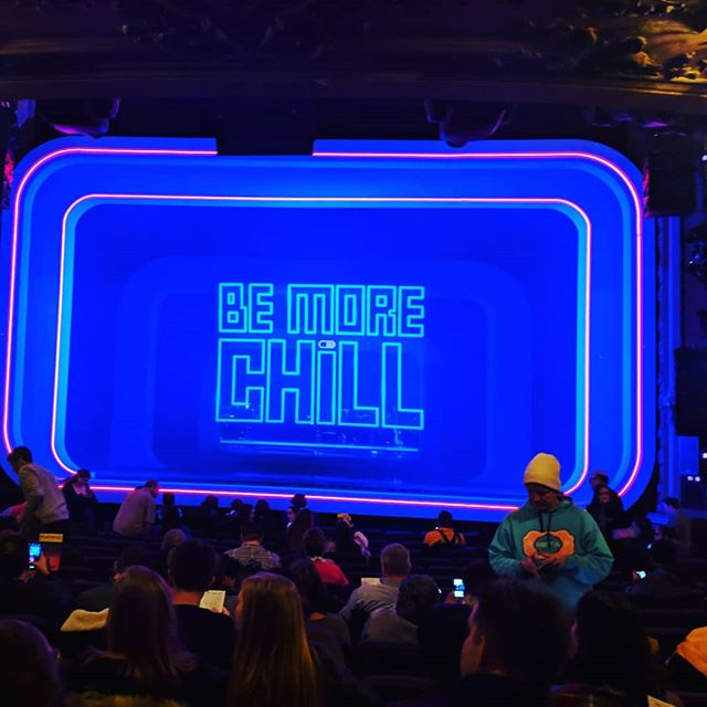 ok, i'm ready to talk about #bemorechill how did this all even happen!!?! Well... @alexbascokoch is how, what a bright, shining light is he! ABK trusted me to learn how to be our air traffic controller, which was truly a leap in the deep, and an opportunity for which I am eternally grateful. We, Team Video, @jallenerickson @travelingdaisy @lakeswholelakes @call_1_888_777_pain @r_edgar_hoover Ido Levran, @kdloney @ewojc David Spirakes, were my favorite kind of team. We worked diligently, often sleeplessly, towards the collective dream. We cantilevered to support the evolution of this world. And we managed to keep spirits high with some of the dumbest com jokes imaginable. I'd do it again in a ❤️beat. We were but one story of resiliency in a room full of them. Every department, my cherished tech friends, management, producorial, directorial, choreographic, our brilliant actors (i stan @hsulace til kingdom come) served professionalism + compassion to the nth. They have set the lofty standard to which it is so cool to now be able to hold myself. So, that's it... for now! I diiiiid just want to show you the incredible vintage velour fashun jump I wore to opening (found with love at @1926nyc ), as well as quickly shoutout @powerhairbk and my girl @apowaaa for the best friendship and haircuts of life, and finally show you the insane and thoughtful opening night squip swag!  #iguessilljustdotheater #teamvideo #2019 #ashrimp #broadwaybb