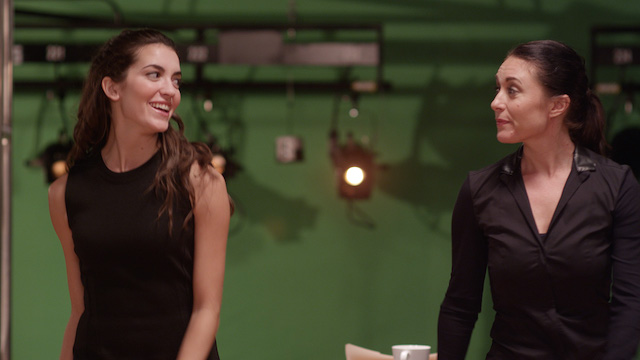 Jaclene Wilk and Cara AnnMarie tap dancing on set.