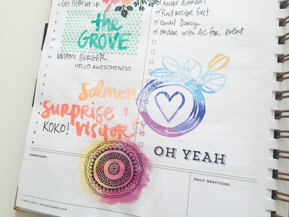 stamping, watercolors and temporary tattoos in a planner