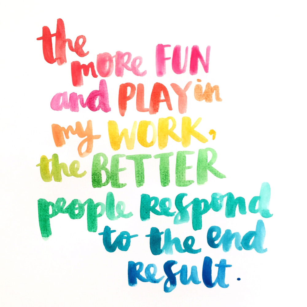 Rainbow scripted quote by Amy Tangerine
