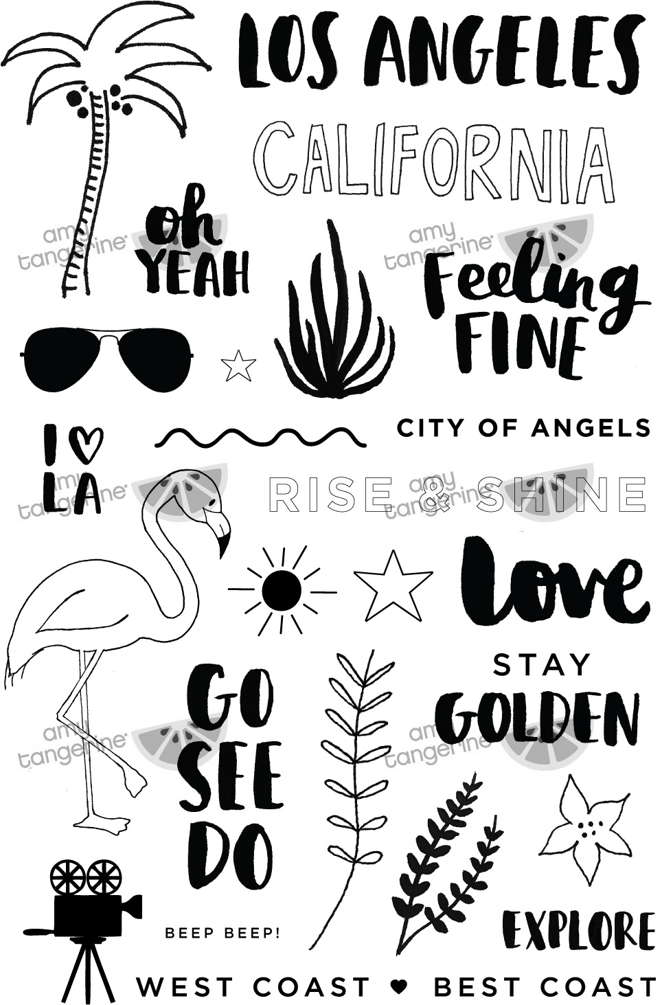 Los Angeles Clear Stamps | Amy Tangerine