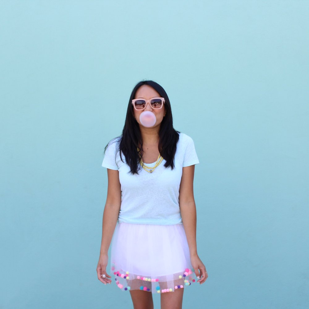 Blowing Bubbles | Amy Tangerine in Cat & Jack skirt