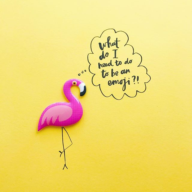 I mean seriously, right?! #worldemojiday #flamingoemoji please!